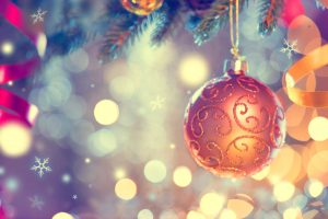 47191866 - christmas and new year decoration. golden bauble hanging on christmas tree
